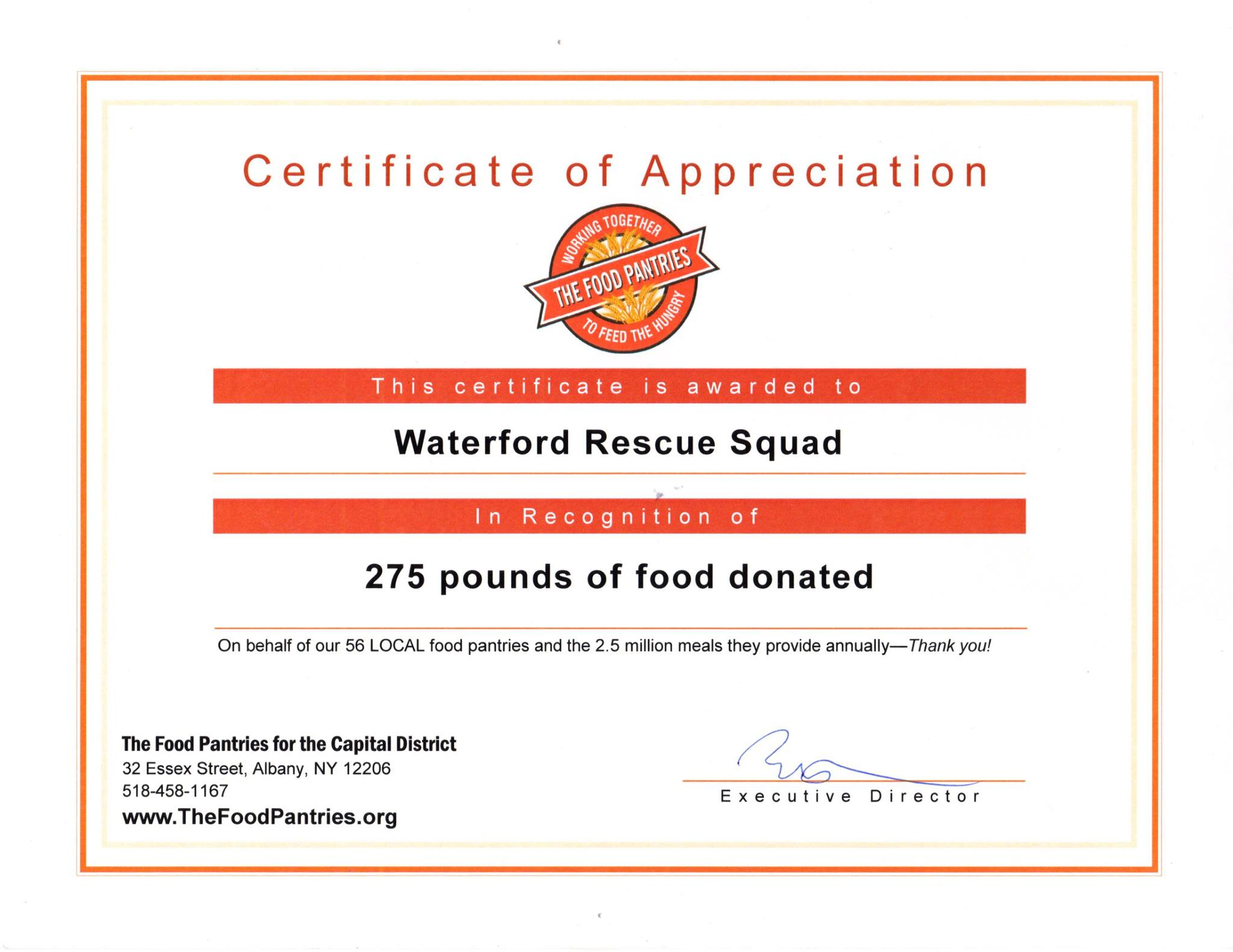 Food Donation Certificate